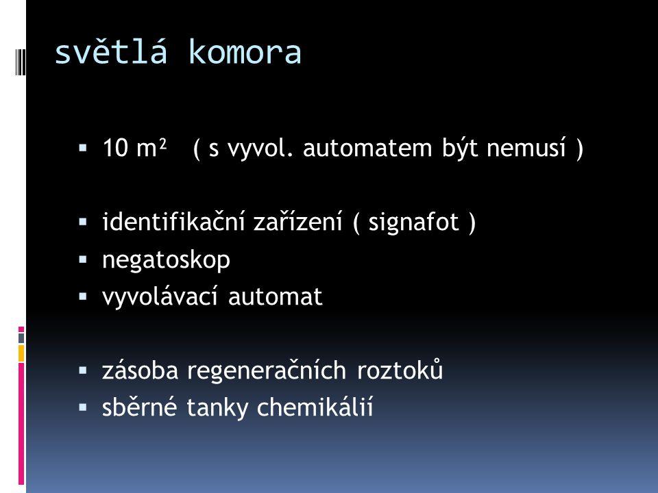 světlá komora  10 m² ( s vyvol. automatem být nemusí )  identifikační zařízení ( signafot )  negatoskop  vyvolávací automat  zásoba regeneračních
