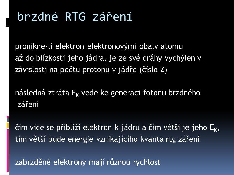 brzdné RTG záření pronikne-li elektron elektronovými obaly atomu až do blízkosti jeho jádra, je ze své dráhy vychýlen v závislosti na počtu protonů v