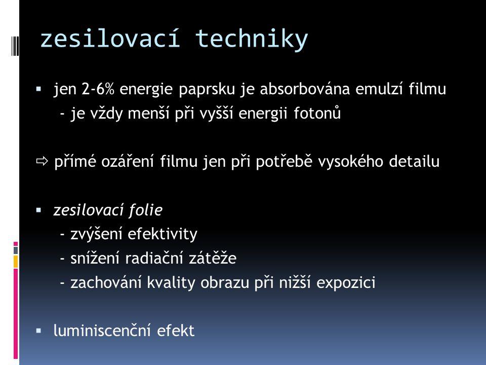 zesilovací techniky  jen 2-6% energie paprsku je absorbována emulzí filmu - je vždy menší při vyšší energii fotonů  přímé ozáření filmu jen při potř