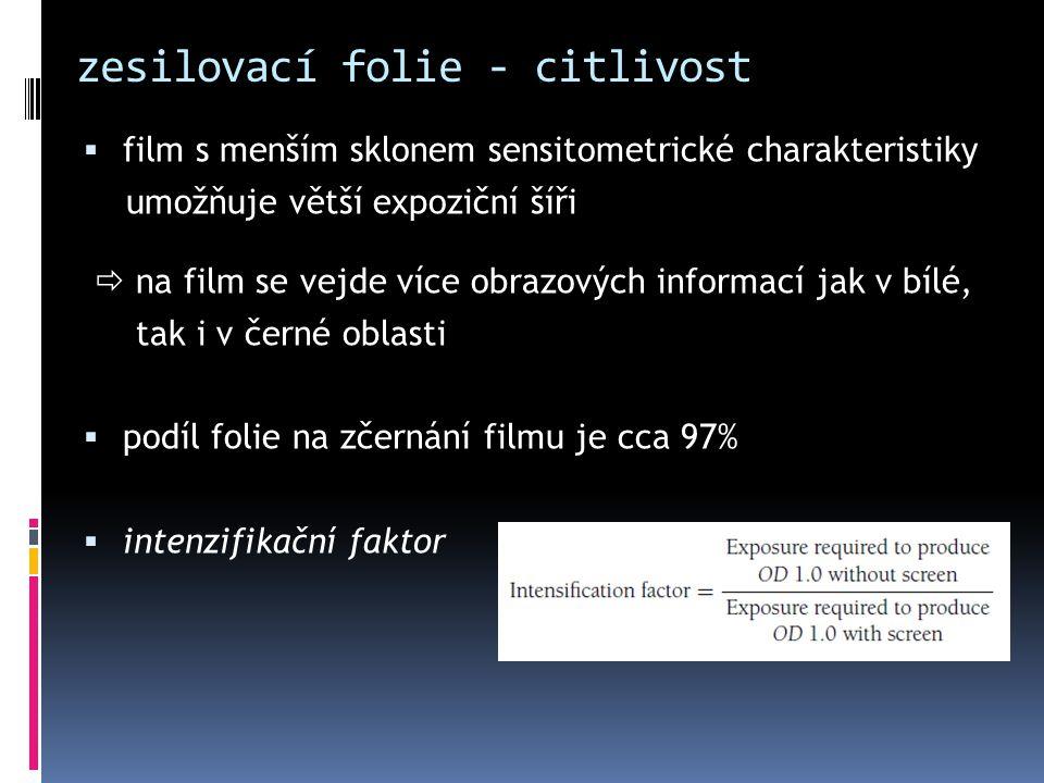 zesilovací folie - citlivost  film s menším sklonem sensitometrické charakteristiky umožňuje větší expoziční šíři  na film se vejde více obrazových