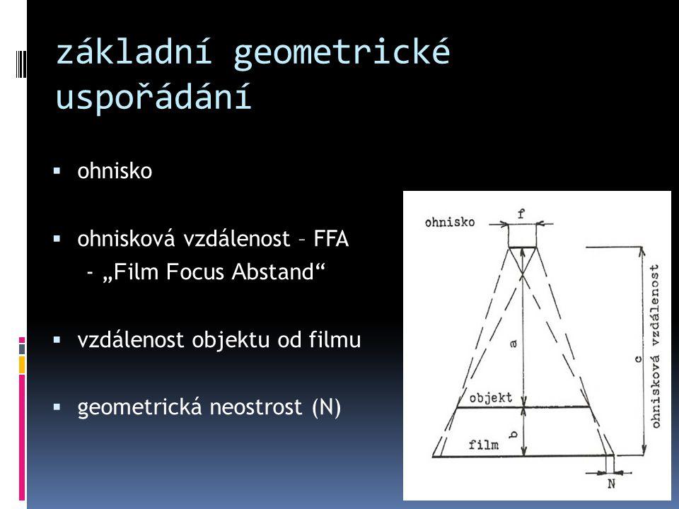 """základní geometrické uspořádání  ohnisko  ohnisková vzdálenost – FFA - """" F ilm F ocus A bstand""""  vzdálenost objektu od filmu  geometrická neostros"""