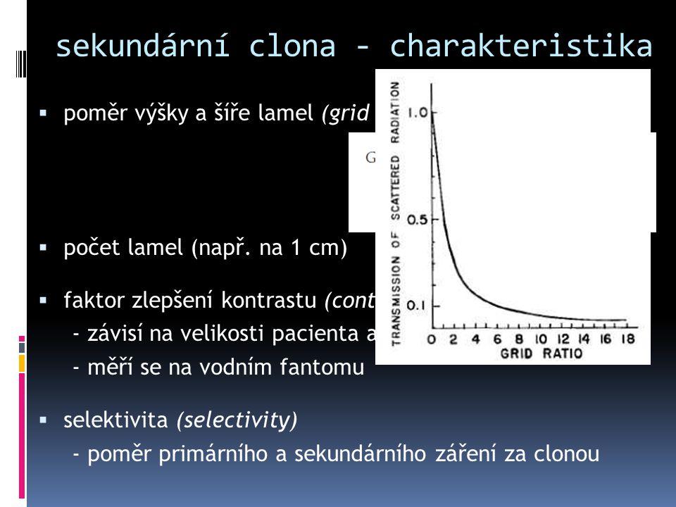 sekundární clona - charakteristika  poměr výšky a šíře lamel (grid ratio)  počet lamel (např. na 1 cm)  faktor zlepšení kontrastu (contrast improve