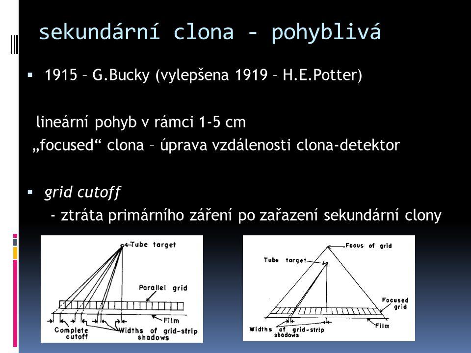 """sekundární clona - pohyblivá  1915 – G.Bucky (vylepšena 1919 – H.E.Potter) lineární pohyb v rámci 1-5 cm """"focused"""" clona – úprava vzdálenosti clona-d"""