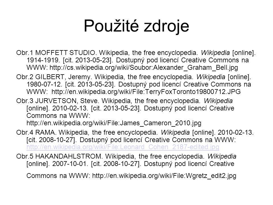 Použité zdroje Obr.1 MOFFETT STUDIO. Wikipedia, the free encyclopedia. Wikipedia [online]. 1914-1919. [cit. 2013-05-23]. Dostupný pod licencí Creative