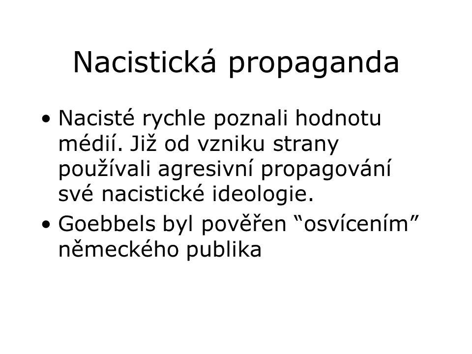 Nacistická propaganda •Nacisté rychle poznali hodnotu médií.
