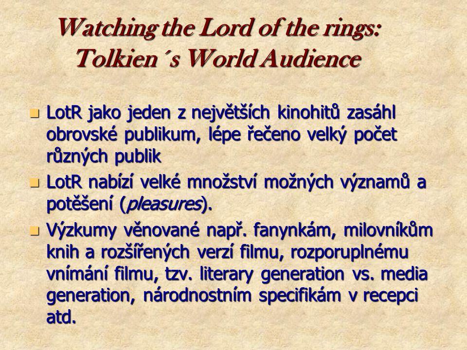 Další rozdělení fandomu  Tradiční fandom – fanziny, kluby, cony  Internetový fandom – využívá nových technologií, weby, online diskuze U Tolkiena (Pána prstenů) lze uvažovat o rozdělení na  Literární fandom (u nás od 90.