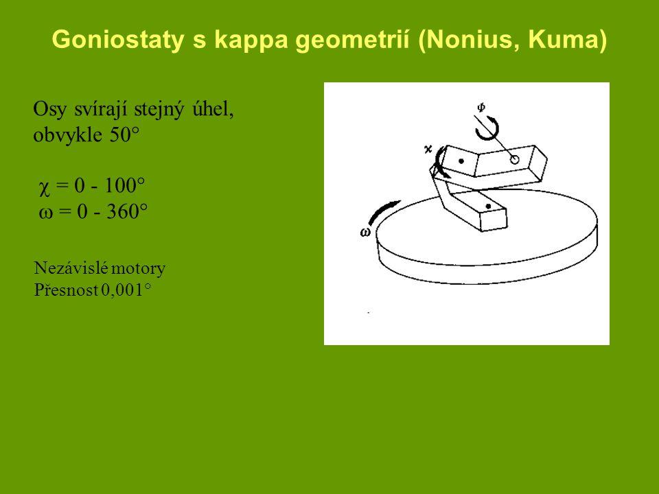 Goniostaty s kappa geometrií (Nonius, Kuma) Osy svírají stejný úhel, obvykle 50°  = 0 - 100°  = 0 - 360° Nezávislé motory Přesnost 0,001°