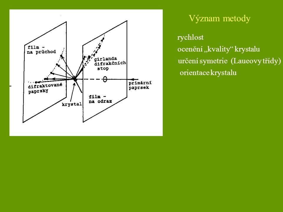 """Význam metody rychlost určení symetrie (Laueovy třídy) ocenění """"kvality"""" krystalu orientace krystalu"""