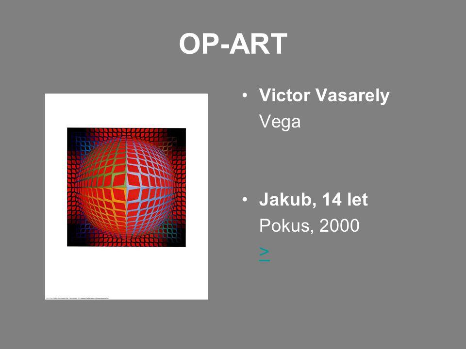 OP-ART •Victor Vasarely Vega •Jakub, 14 let Pokus, 2000 >