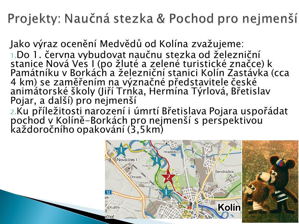 Jako výraz ocenění Medvědů od Kolína zvažujeme: 1. Do 1. června vybudovat naučnu stezka od železniční stanice Nová Ves I (po žluté a zelené turistické