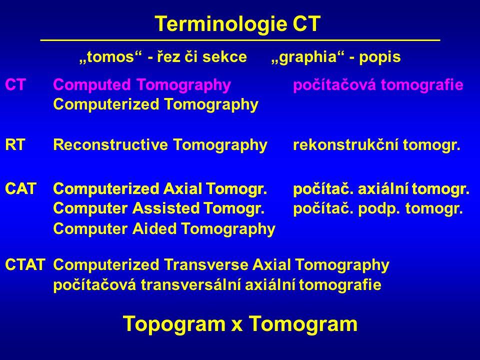 CT Terminologie CT RT CAT CTAT CTComputed TomographyCTComputed Tomographypočítačová tomografie Computerized Tomography Reconstructive Tomographyrekons