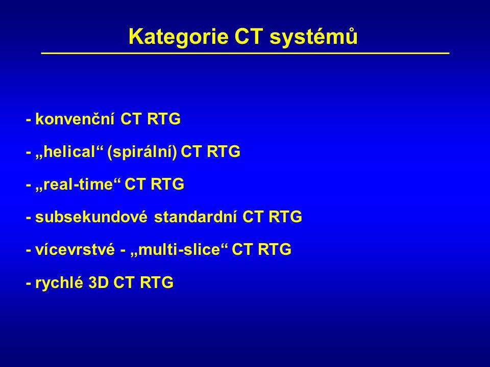 """Kategorie CT systémů - """"helical"""" (spirální) CT RTG - subsekundové standardní CT RTG - """"real-time"""" CT RTG - konvenční CT RTG - vícevrstvé - """"multi-slic"""