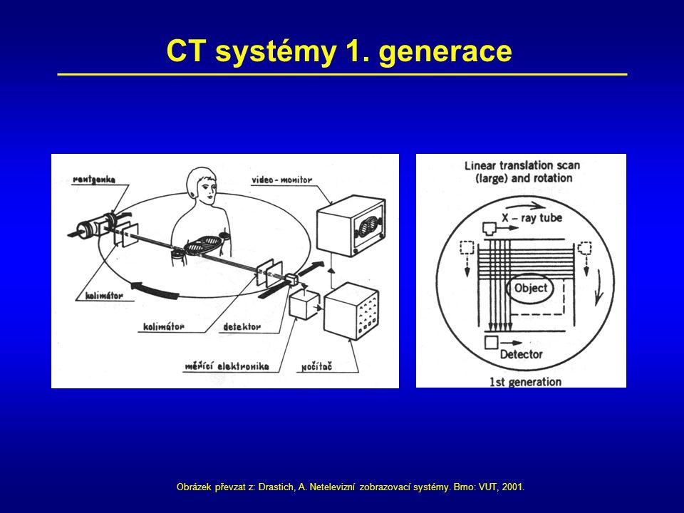 CT systémy 1. generace Obrázek převzat z: Drastich, A. Netelevizní zobrazovací systémy. Brno: VUT, 2001.
