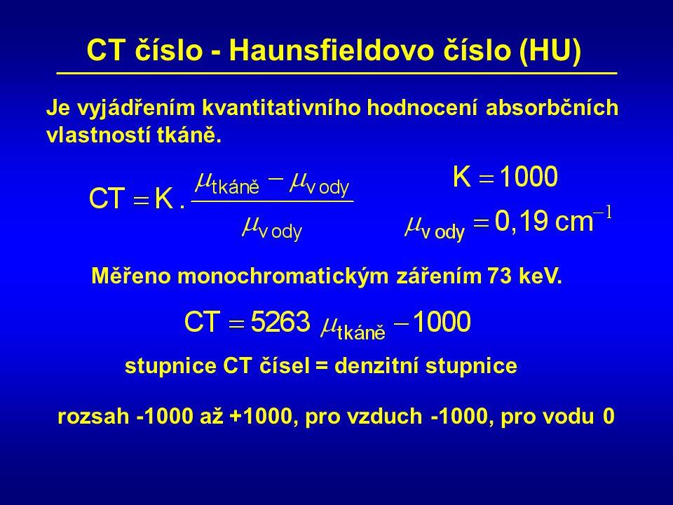 CT číslo - Haunsfieldovo číslo (HU) Je vyjádřením kvantitativního hodnocení absorbčních vlastností tkáně. Měřeno monochromatickým zářením 73 keV. stup