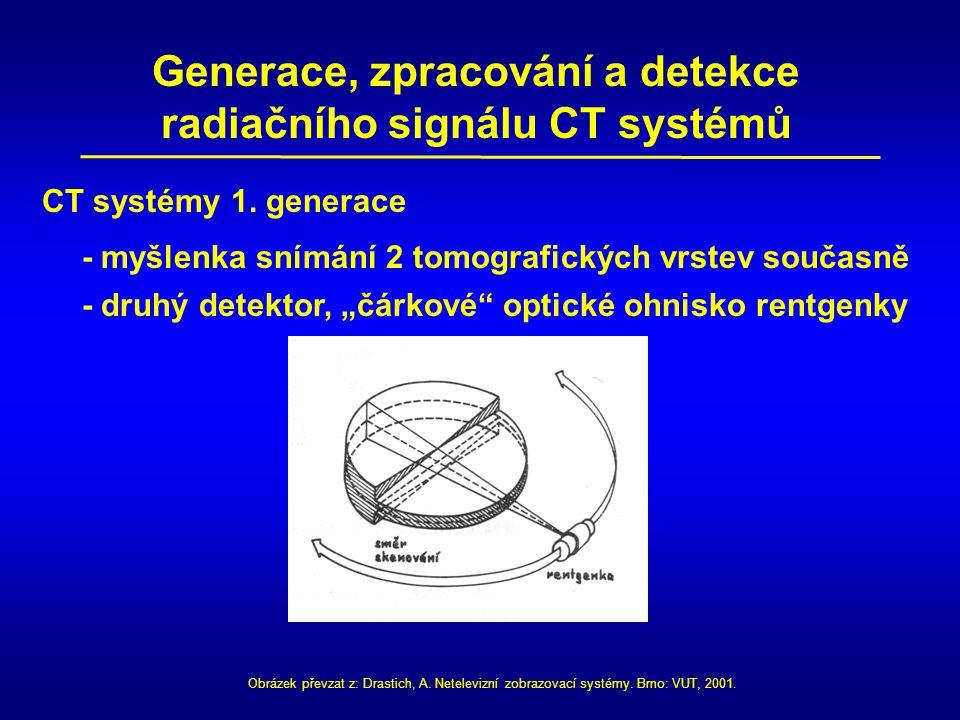 Generace, zpracování a detekce radiačního signálu CT systémů CT systémy 1. generace - myšlenka snímání 2 tomografických vrstev současně - druhý detekt