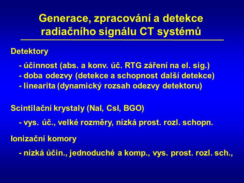 Generace, zpracování a detekce radiačního signálu CT systémů Detektory - účinnost (abs. a konv. úč. RTG záření na el. sig.) - linearita (dynamický roz
