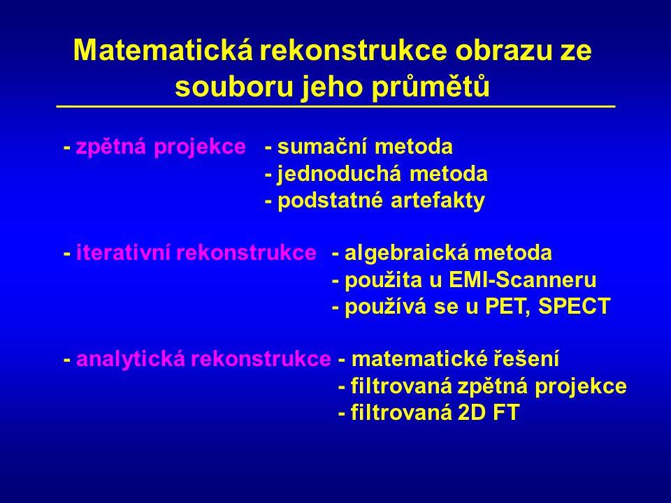 Matematická rekonstrukce obrazu ze souboru jeho průmětů - zpětná projekce - sumační metoda - jednoduchá metoda - podstatné artefakty - iterativní rekonstrukce - algebraická metoda - použita u EMI-Scanneru - používá se u PET, SPECT - analytická rekonstrukce - matematické řešení - filtrovaná zpětná projekce - filtrovaná 2D FT