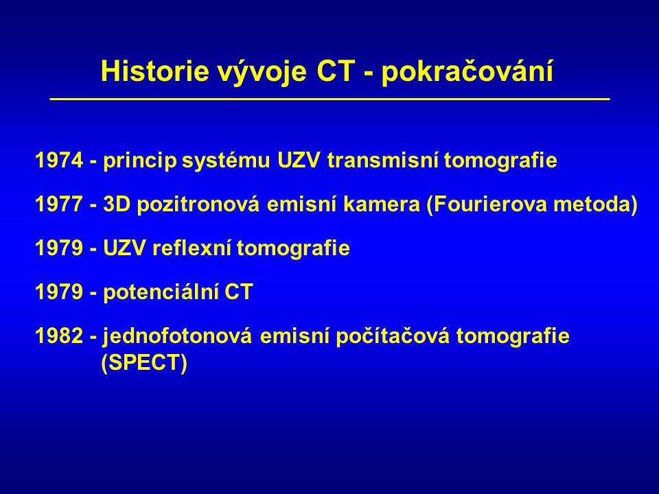 1977 - 3D pozitronová emisní kamera (Fourierova metoda) 1979 - potenciální CT 1979 - UZV reflexní tomografie 1974 - princip systému UZV transmisní tomografie Historie vývoje CT - pokračování 1982 - jednofotonová emisní počítačová tomografie (SPECT)
