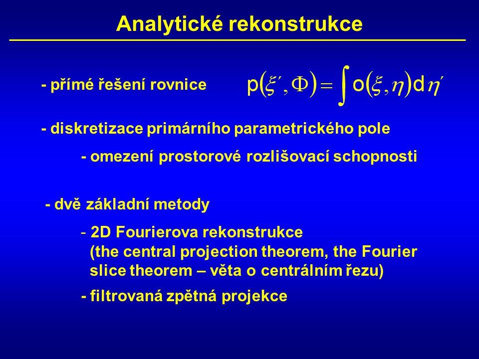 Analytické rekonstrukce - přímé řešení rovnice - diskretizace primárního parametrického pole - omezení prostorové rozlišovací schopnosti - dvě základn