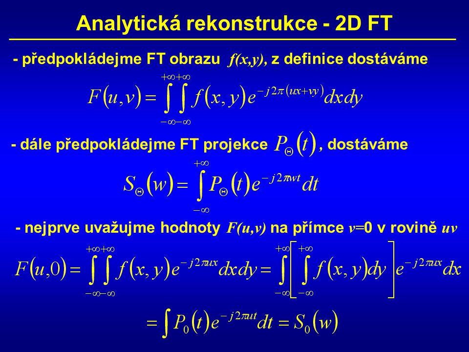 Analytická rekonstrukce - 2D FT - předpokládejme FT obrazu f(x,y), z definice dostáváme - dále předpokládejme FT projekce, dostáváme - nejprve uvažujme hodnoty F(u,v) na přímce v= 0 v rovině uv