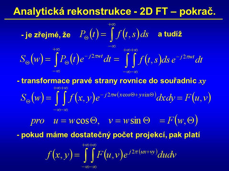 Analytická rekonstrukce - 2D FT – pokrač. - je zřejmé, že - transformace pravé strany rovnice do souřadnic xy a tudíž - pokud máme dostatečný počet pr