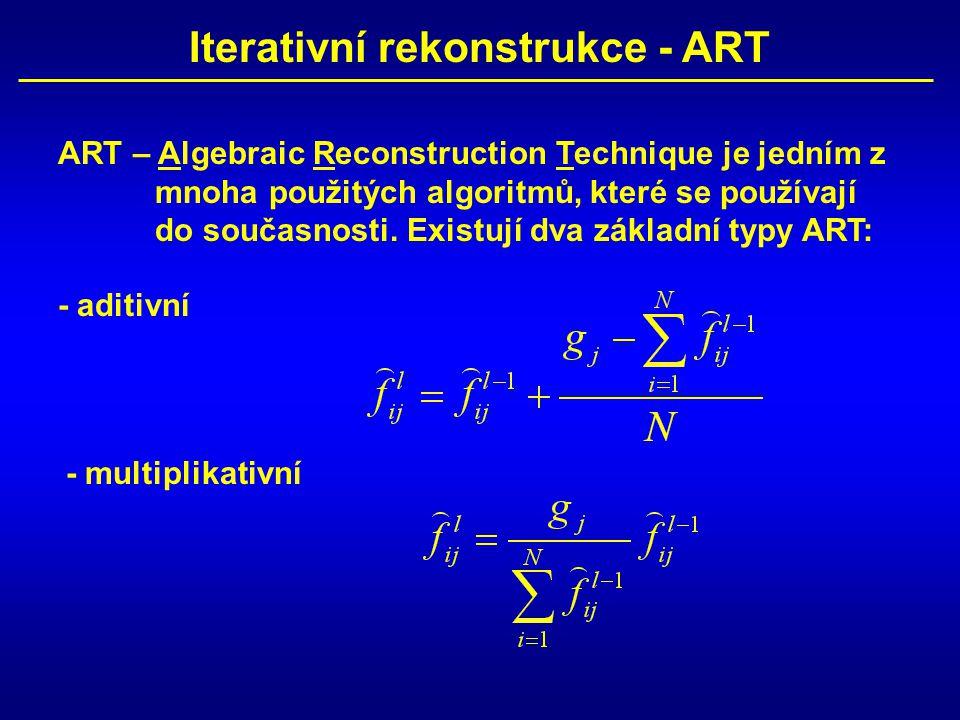 Iterativní rekonstrukce - ART ART – Algebraic Reconstruction Technique je jedním z mnoha použitých algoritmů, které se používají do současnosti.