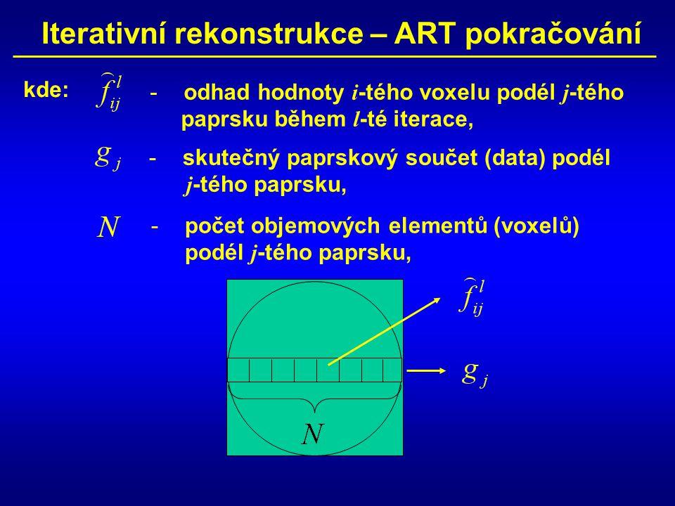 Iterativní rekonstrukce – ART pokračování -odhad hodnoty i -tého voxelu podél j -tého paprsku během l -té iterace, -skutečný paprskový součet (data) p