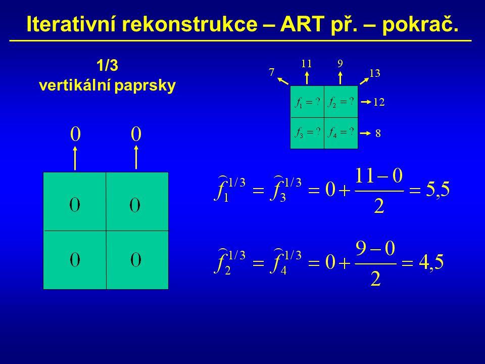 Iterativní rekonstrukce – ART př. – pokrač. 1/3 vertikální paprsky