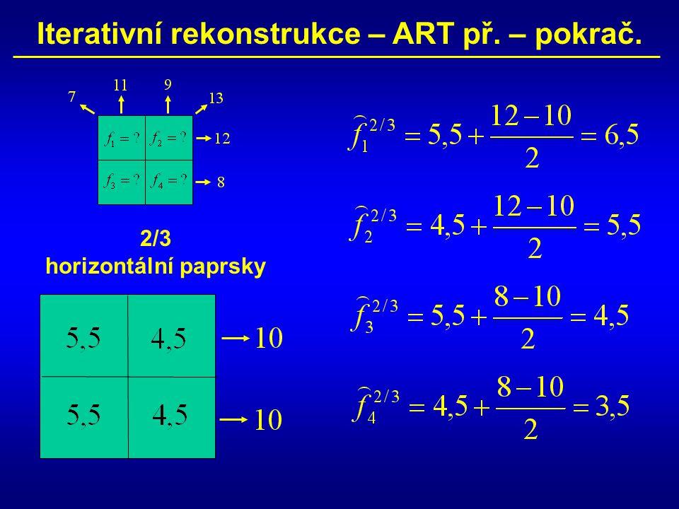 Iterativní rekonstrukce – ART př. – pokrač. 2/3 horizontální paprsky