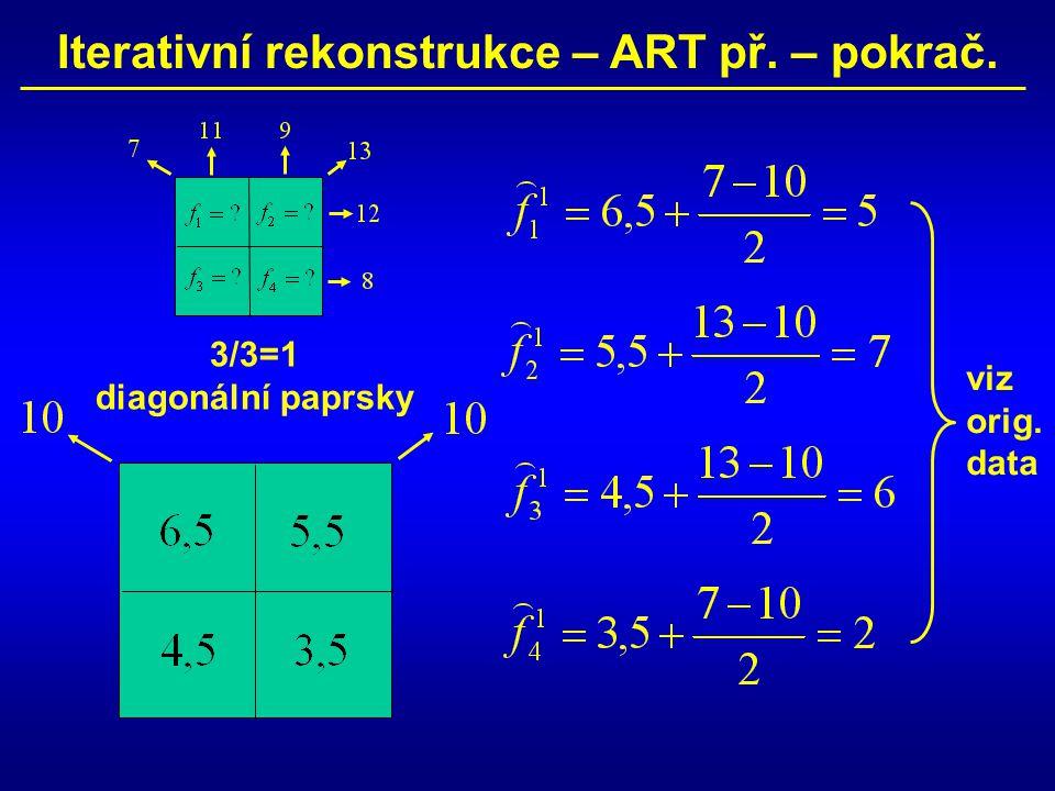 Iterativní rekonstrukce – ART př. – pokrač. 3/3=1 diagonální paprsky viz orig. data