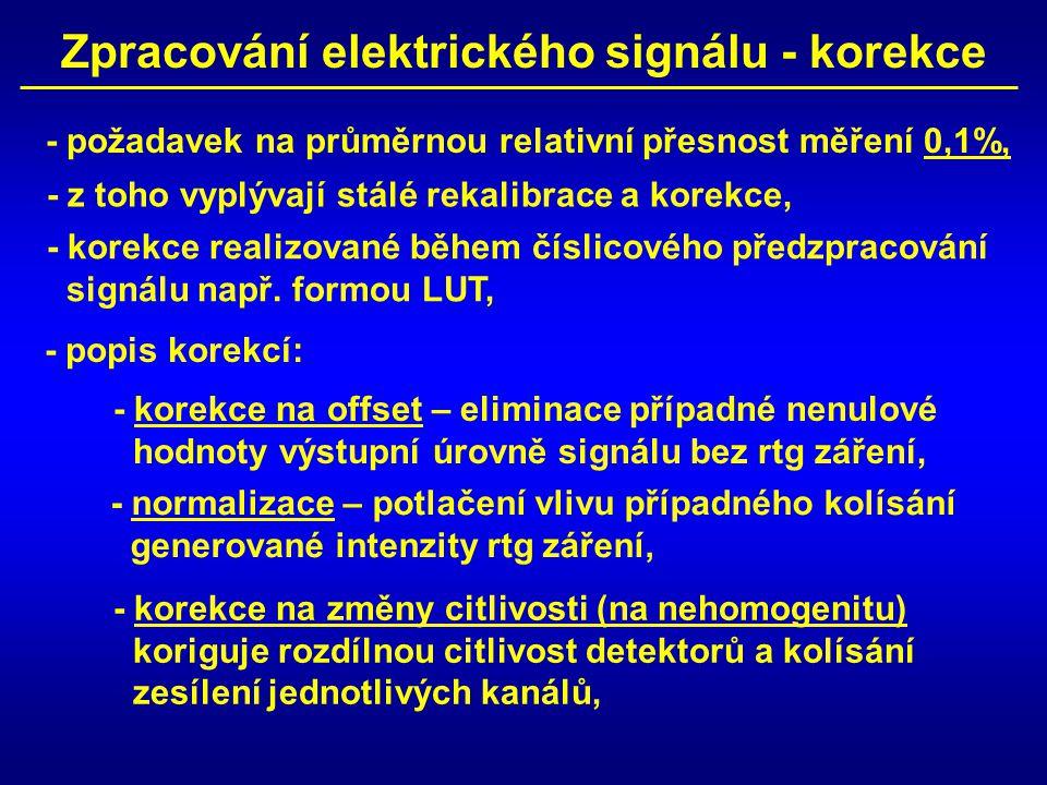 Zpracování elektrického signálu - korekce - požadavek na průměrnou relativní přesnost měření 0,1%, - z toho vyplývají stálé rekalibrace a korekce, - k