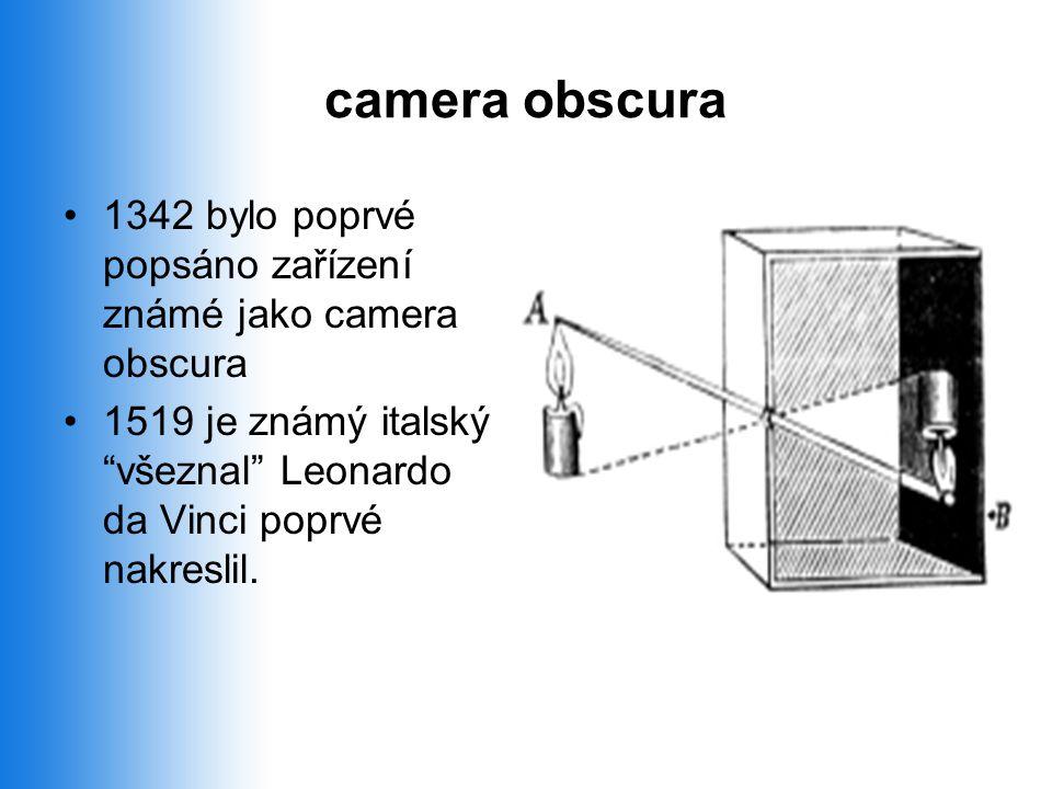 camera obscura •1342 bylo poprvé popsáno zařízení známé jako camera obscura •1519 je známý italský všeznal Leonardo da Vinci poprvé nakreslil.