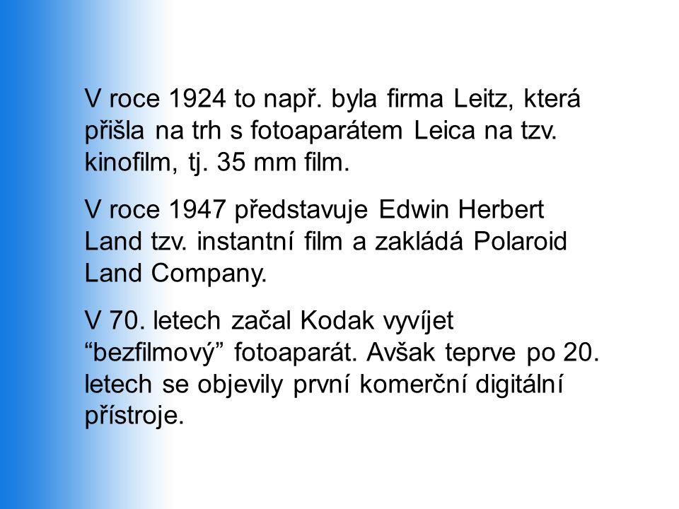 V roce 1924 to např. byla firma Leitz, která přišla na trh s fotoaparátem Leica na tzv. kinofilm, tj. 35 mm film. V roce 1947 představuje Edwin Herber