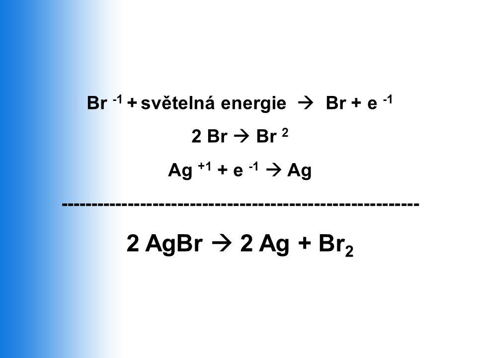 Br -1 + světelná energie  Br + e -1 2 Br  Br 2 Ag +1 + e -1  Ag ---------------------------------------------------------- 2 AgBr  2 Ag + Br 2