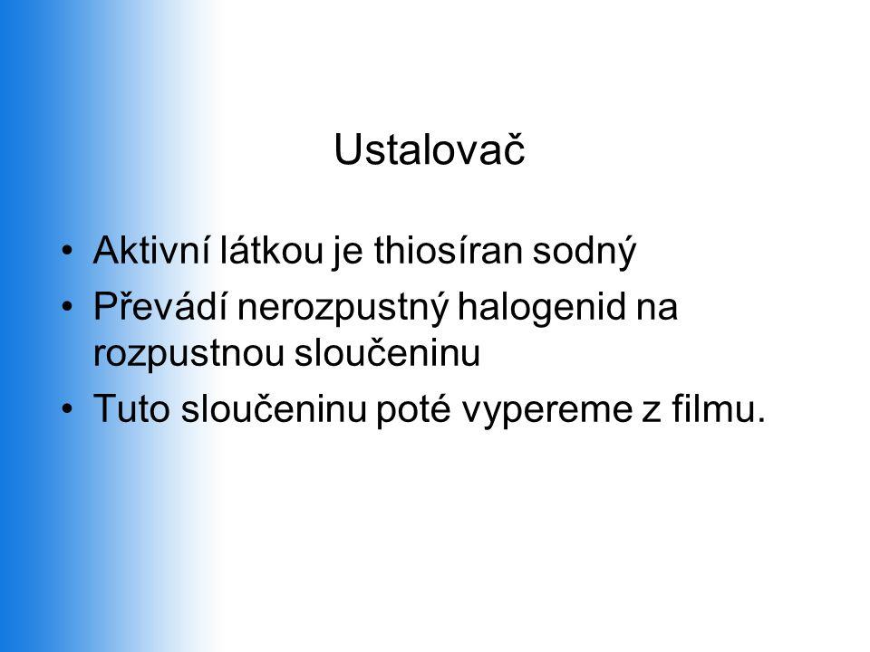 Ustalovač •Aktivní látkou je thiosíran sodný •Převádí nerozpustný halogenid na rozpustnou sloučeninu •Tuto sloučeninu poté vypereme z filmu.