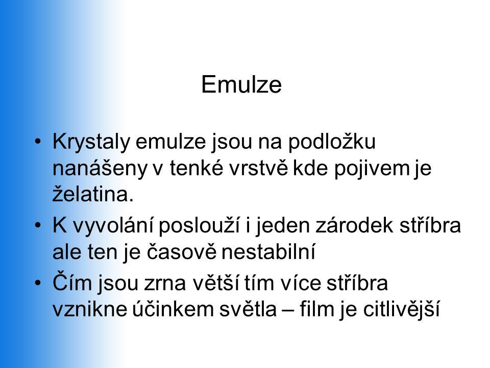 Emulze •Krystaly emulze jsou na podložku nanášeny v tenké vrstvě kde pojivem je želatina. •K vyvolání poslouží i jeden zárodek stříbra ale ten je časo