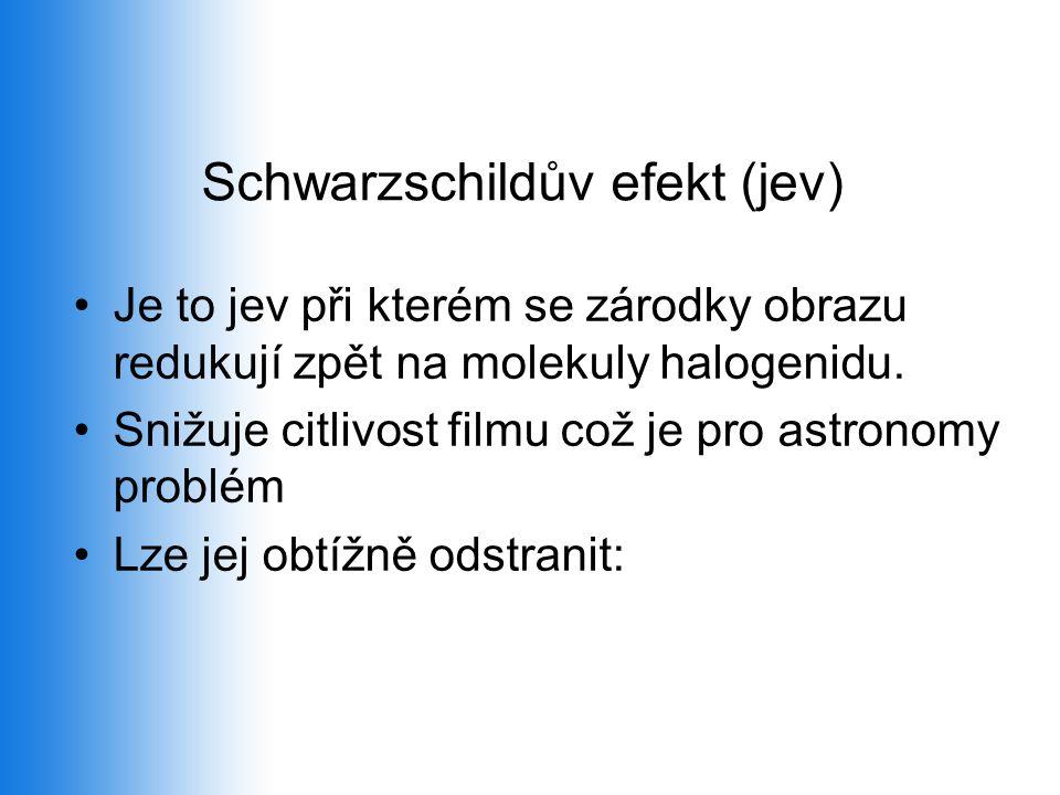 Schwarzschildův efekt (jev) •Je to jev při kterém se zárodky obrazu redukují zpět na molekuly halogenidu. •Snižuje citlivost filmu což je pro astronom
