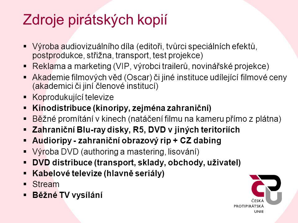 Zdroje pirátských kopií  Výroba audiovizuálního díla (editoři, tvůrci speciálních efektů, postprodukce, střižna, transport, test projekce)  Reklama