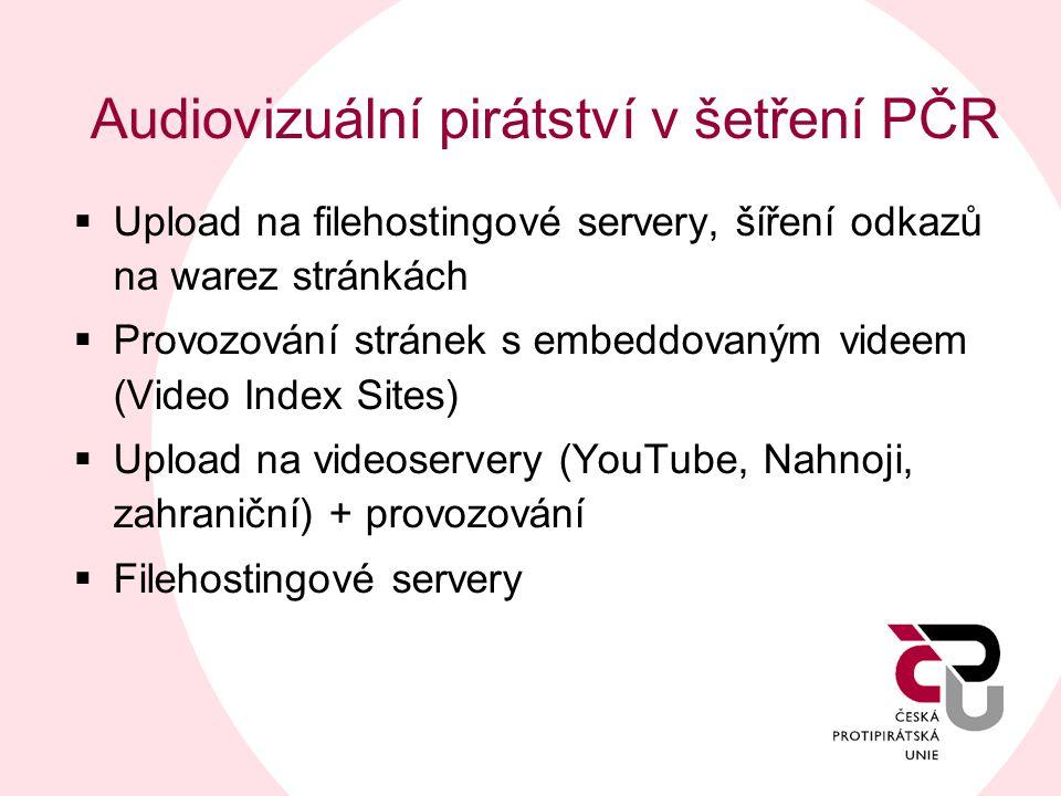 Audiovizuální pirátství v šetření PČR  Upload na filehostingové servery, šíření odkazů na warez stránkách  Provozování stránek s embeddovaným videem
