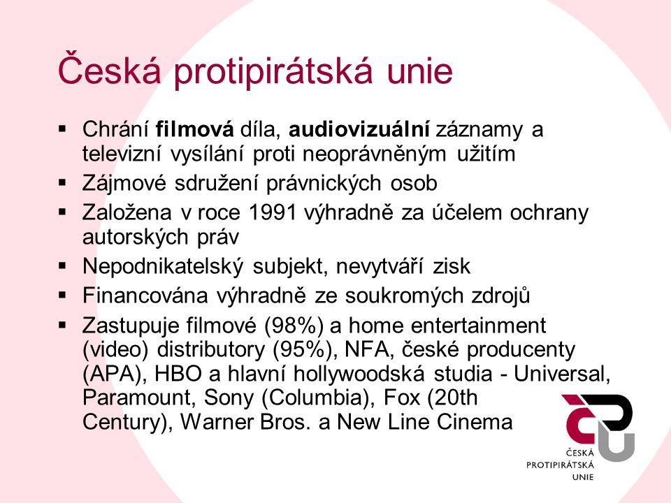 Česká protipirátská unie  Chrání filmová díla, audiovizuální záznamy a televizní vysílání proti neoprávněným užitím  Zájmové sdružení právnických os