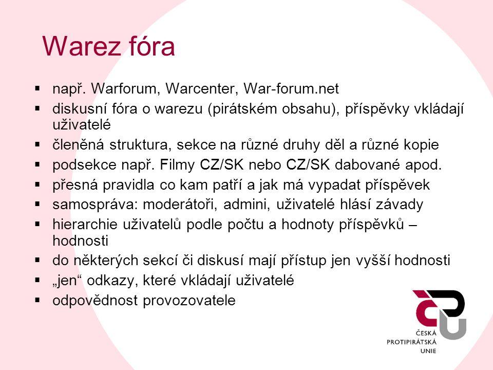 Warez fóra  např. Warforum, Warcenter, War-forum.net  diskusní fóra o warezu (pirátském obsahu), příspěvky vkládají uživatelé  členěná struktura, s