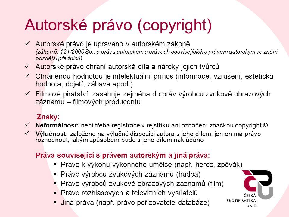Autorské právo (copyright)  Autorské právo je upraveno v autorském zákoně (zákon č. 121/2000 Sb., o právu autorském a právech souvisejících s právem