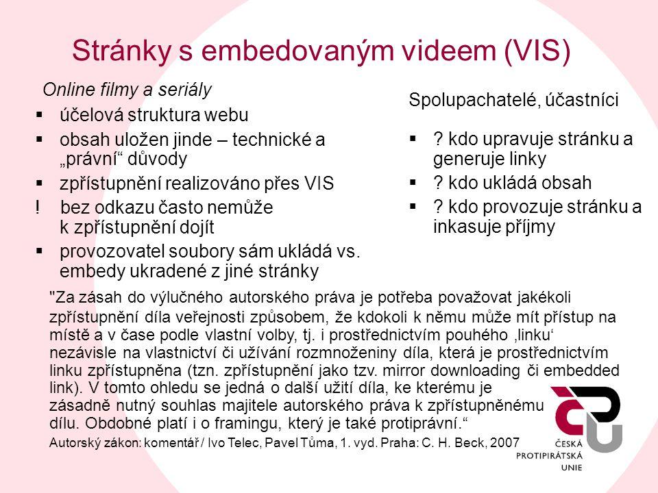 Stránky s embedovaným videem (VIS) Spolupachatelé, účastníci  ? kdo upravuje stránku a generuje linky  ? kdo ukládá obsah  ? kdo provozuje stránku