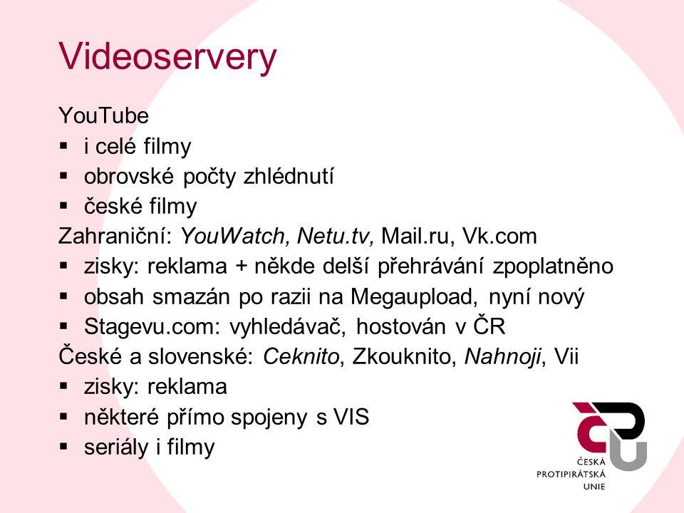 Videoservery YouTube  i celé filmy  obrovské počty zhlédnutí  české filmy Zahraniční: YouWatch, Netu.tv, Mail.ru, Vk.com  zisky: reklama + někde d