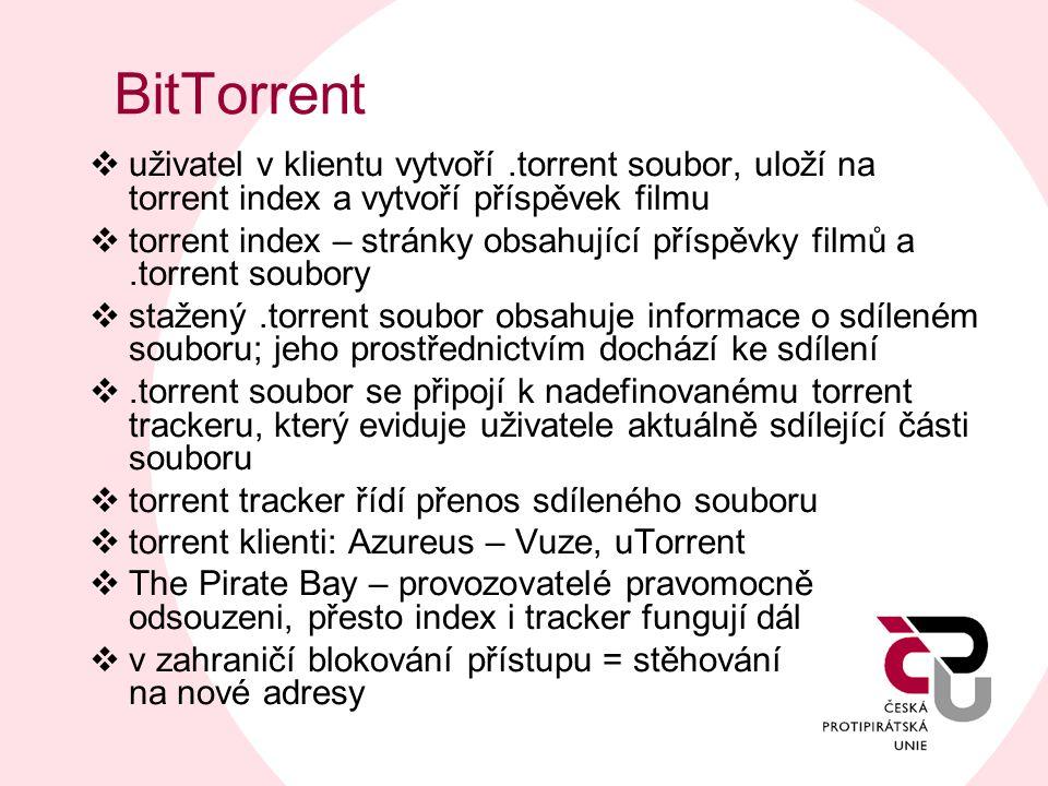 BitTorrent  uživatel v klientu vytvoří.torrent soubor, uloží na torrent index a vytvoří příspěvek filmu  torrent index – stránky obsahující příspěvk