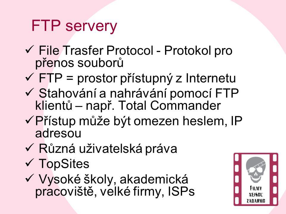 FTP servery  File Trasfer Protocol - Protokol pro přenos souborů  FTP = prostor přístupný z Internetu  Stahování a nahrávání pomocí FTP klientů – n