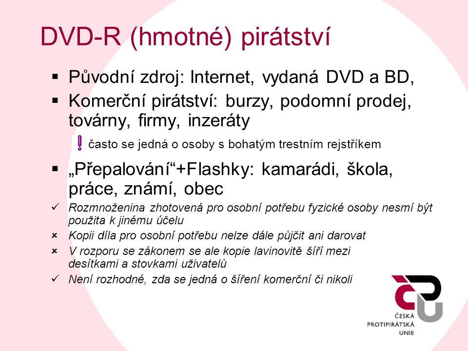 DVD-R (hmotné) pirátství  Původní zdroj: Internet, vydaná DVD a BD,  Komerční pirátství: burzy, podomní prodej, továrny, firmy, inzeráty často se je