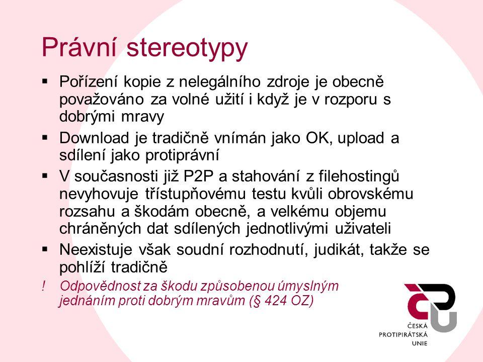 Právní stereotypy  Pořízení kopie z nelegálního zdroje je obecně považováno za volné užití i když je v rozporu s dobrými mravy  Download je tradičně
