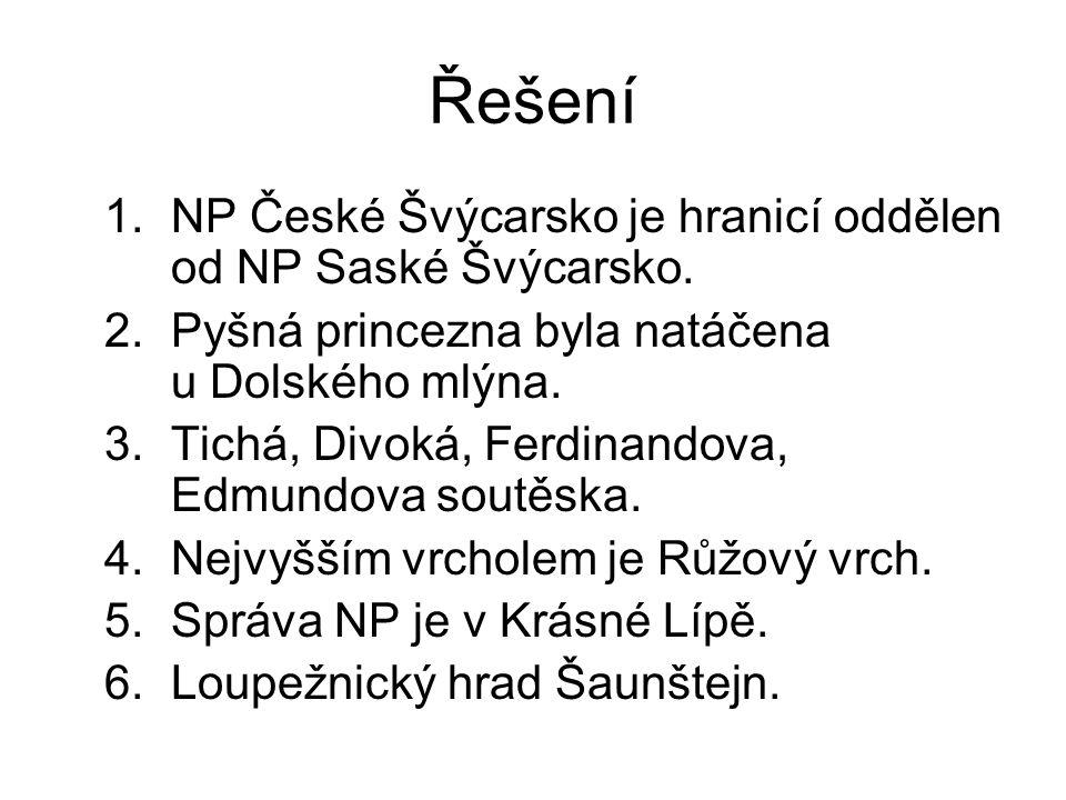 Řešení 1.NP České Švýcarsko je hranicí oddělen od NP Saské Švýcarsko. 2.Pyšná princezna byla natáčena u Dolského mlýna. 3.Tichá, Divoká, Ferdinandova,