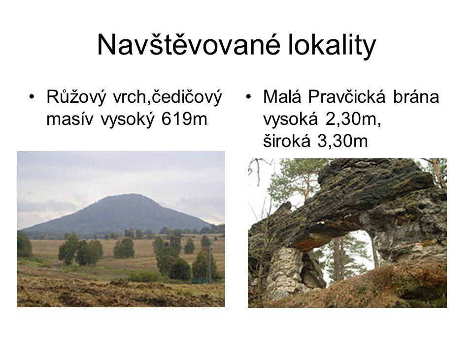 Navštěvované lokality •Růžový vrch,čedičový masív vysoký 619m •Malá Pravčická brána vysoká 2,30m, široká 3,30m